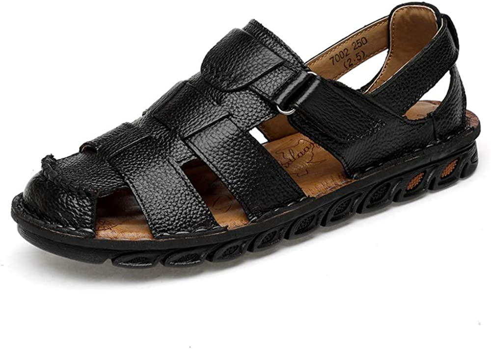 Mens Casual Beach Shoes Roman Leather Buckle Strap Sandals NEW Size
