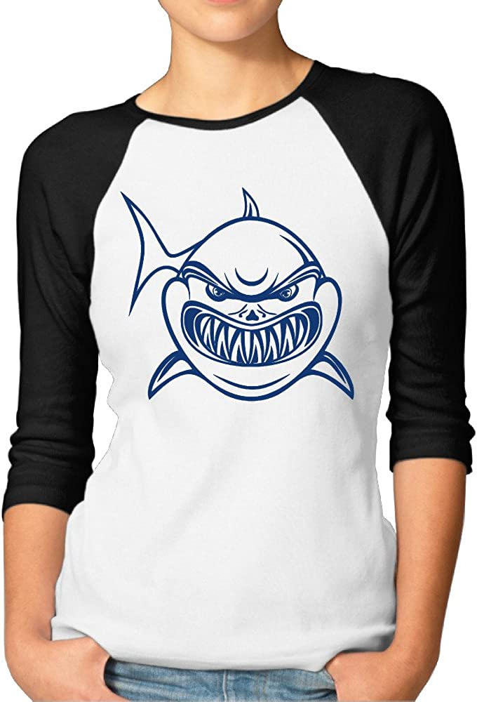 Cartoon Shark Mouth Open Womens 3/4 Sleeve Baseball Style Shirts