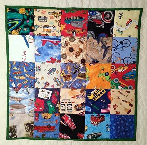 I Spy Quilt, Lap Quilt with Bikes, Cars, Bus, Trains and Planes, I Spy Game, Perfect for Car Rides, Lap Game, 25