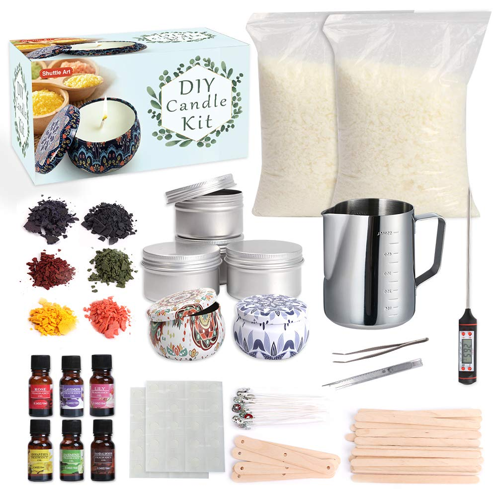 Candle Making Kit Supplies, Shuttle Art Candle Making Kit for Adult, Complete DIY Beginners Set Including 3 LB Soy Wax, 6 Fragrance Oil, 6 Colors Candle Dye, Wicks, Tins, Melting Pot and More