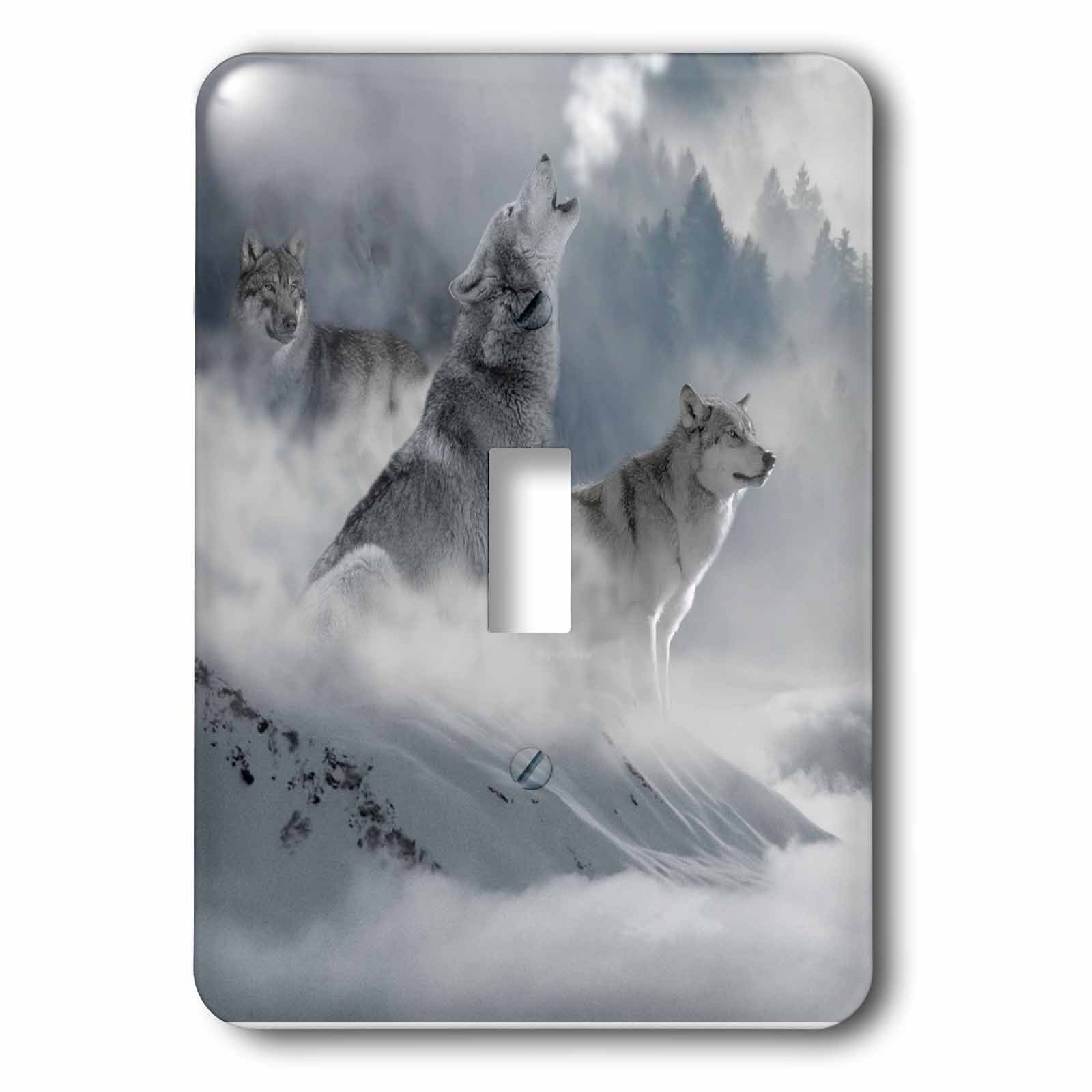 3dRose LSP_252104_1 Fantasy Wolf Wolves Animal with Clouds Single Toggle Switch