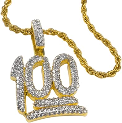 Amazon Com Niv S Bling Iced 100 Emoji Pendant With Free 30 Rope Chain Necklace 18k Gold Plated Stainless Steel Hip Hop Jewelry Jewelry