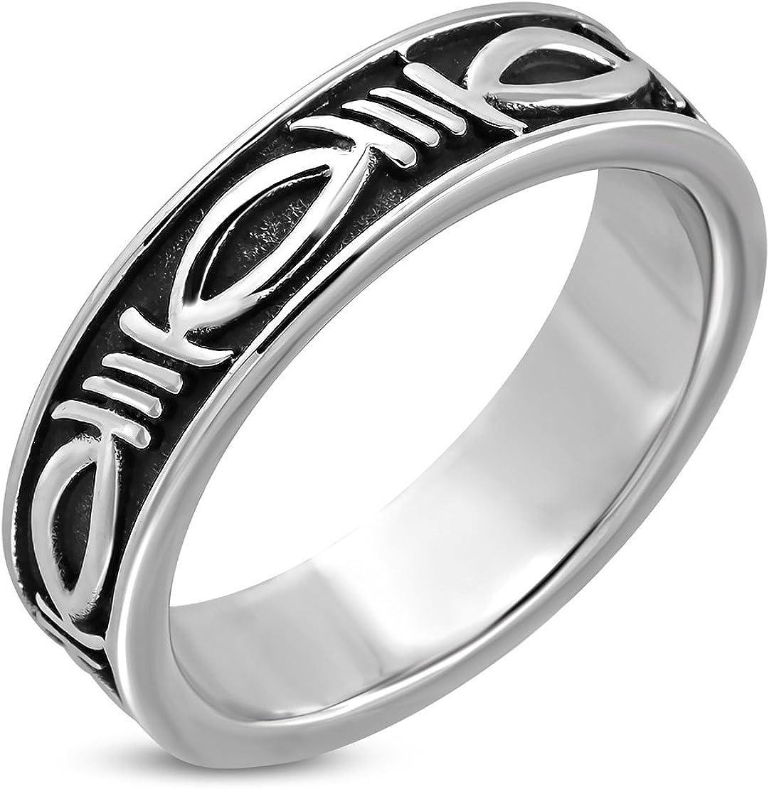 Stainless Steel 2 Color Black Enameled Oval Biker Ring