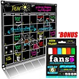 Fanse Large Magnetic Chalkboard Calendar and Liquid Chalk Marker Set 18'' x 14'' / Monthly Planner Blackboard Organizer Agenda Memo for Home, Grocery, Kitchen Refrigerator, Classroom, Dorm Room