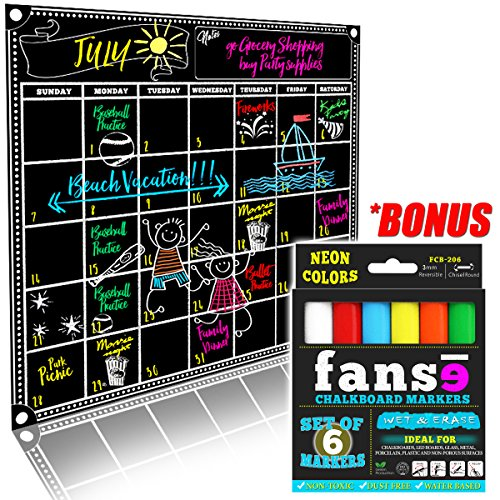 Fanse Large Magnetic Chalkboard Calendar and Liquid Chalk Marker Set 18'' x 14'' / Monthly Planner Blackboard Organizer Agenda Memo for Home, Grocery, Kitchen Refrigerator, Classroom, Dorm Room by Fanse Products