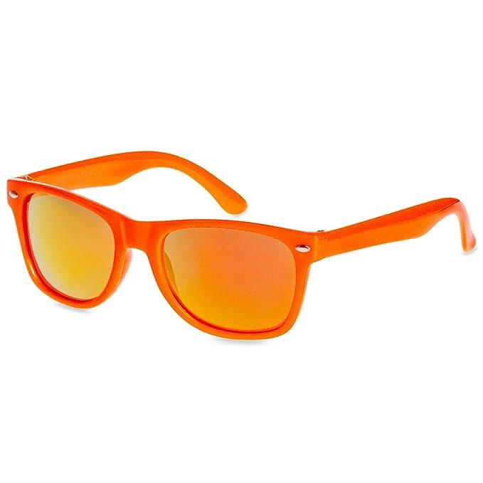 Caspar SG034 Gafas de Sol Retro Niños con Lentes de Espejo Colorados - 100% protección UV400