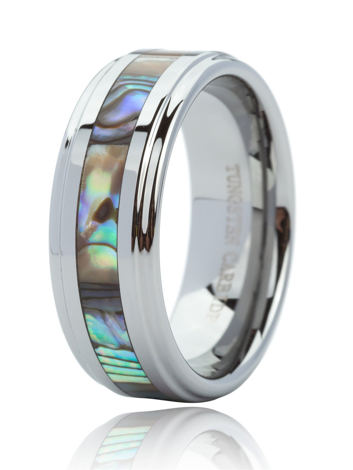 Just Lsy 8mm Tungsten Ring for Men & Women Engagement Wedding Band Abalone Shell Inlay Polished Finish Step Edge Comfort Fit Size 8.5 Lsy-015