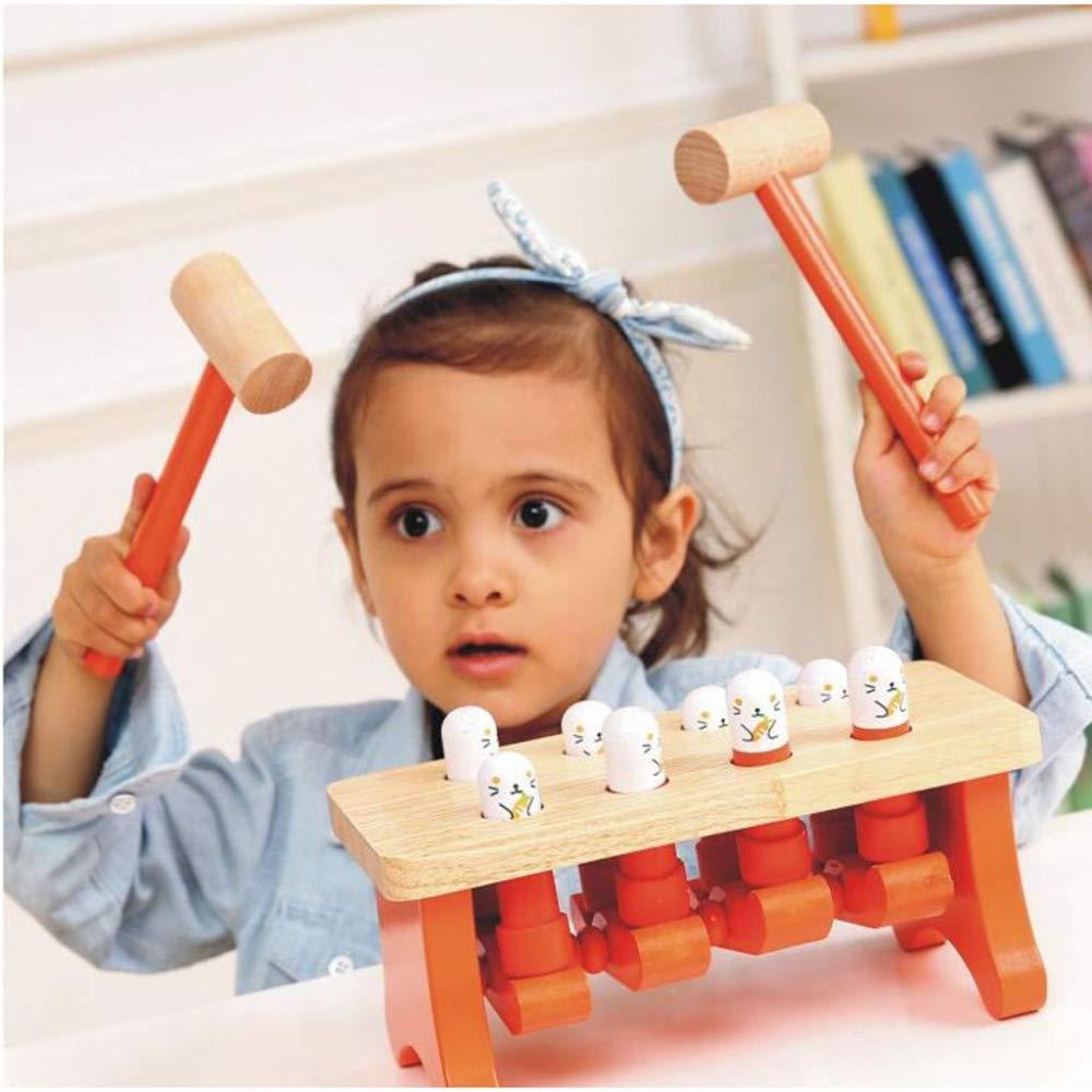 SEJNGF Die Kinder, Die Hamster Spielen, Infant Spielen Hölzerne Puzzlespiel-Bausteine Der Frühen Bildung Hölzerne Spielwaren,Orange