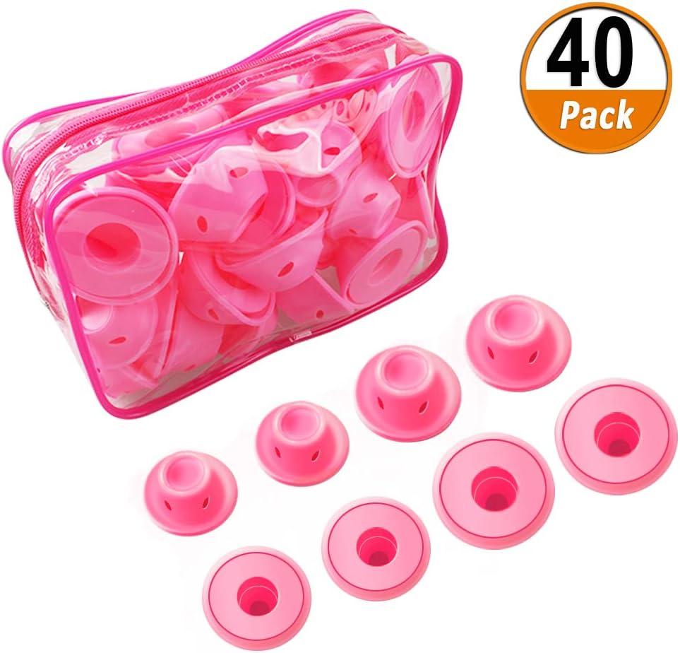 40 Unids Pelo Silicona Rodillo de Rosa Soft Rulos para el Pelo de Silicona Sin calor clip Cuidado Herramientas bricolaje gratuitas para el cabello largo (20 grandes y 20 pequeños)