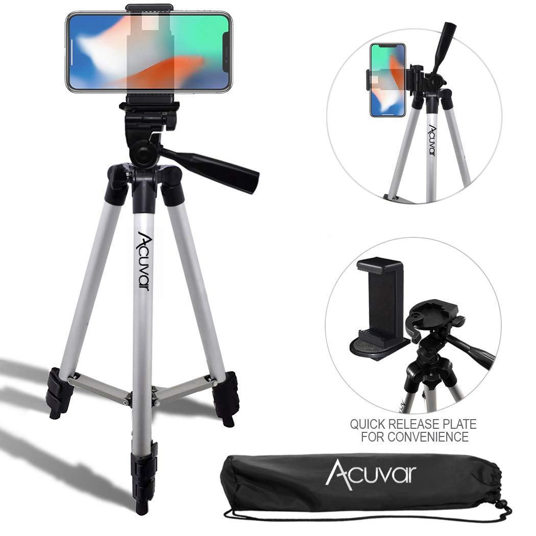 Acuvar 50'' Inch Aluminum Camera Tripod with Quick Release + Universal Smartphone Mount for iPhone Xs, Max, Xr, X, 8, 8+, Pixel 3, XL, Android Note 9, S10, S10+ & More Smartphones by Acuvar