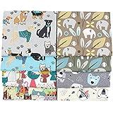 "8 Pcs Zoo Animals 100% Cotton Fabric Fat Quarter Bundles 46cm x 56cm(18"" x 22"") Sewing Quilting Fabric,Cat Dog Elephant Printed Fabric"