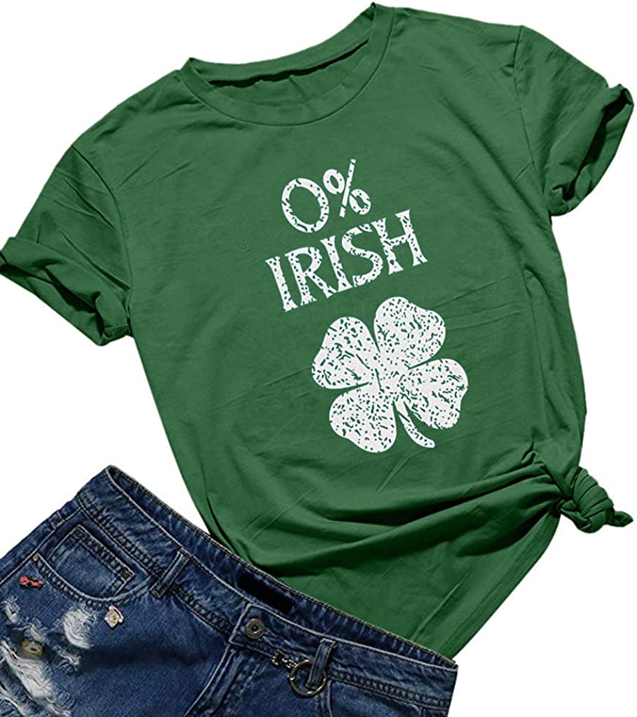 Womens ST Patricks Day Shirts Clover Print Funny Short Sleeve Round Neck Cute Graphic Tees Tops Casual Holidays Tops