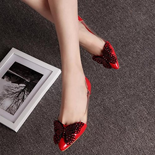 HUHU833 Women Summer Rivet Sandals Ballet Flats Fashion Comfortable Shoes Red nhjp9