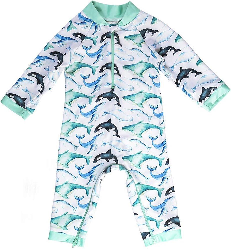 Honeysuckle Swim Company Baby Boy Swimsuit Certified UPF 50+ Easy Inseam Diaper Zipper