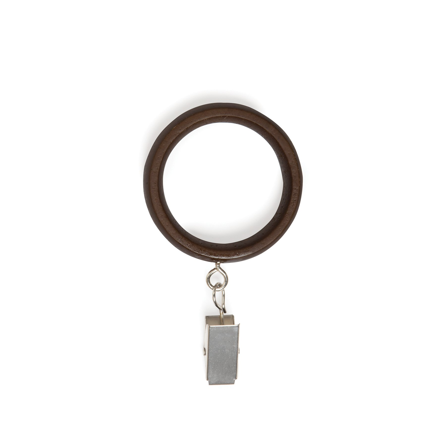 Umbra Wood Extra Drapery Ring with Clips, X-Large, Aged Walnut/Nickel