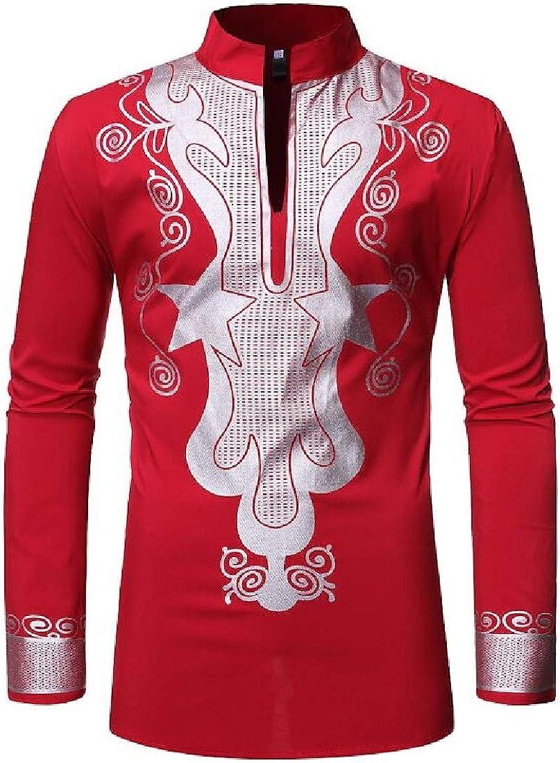 KLJR Men Dashiki Embroidery Long Sleeve Slim Button Down Print Shirts