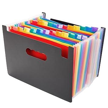 Mychoose - Archivador expandible de tipo acordeón con 24 compartimentos, tamaño A4, de plástico, portátil, multicolor, carpeta organizadora con soporte ...