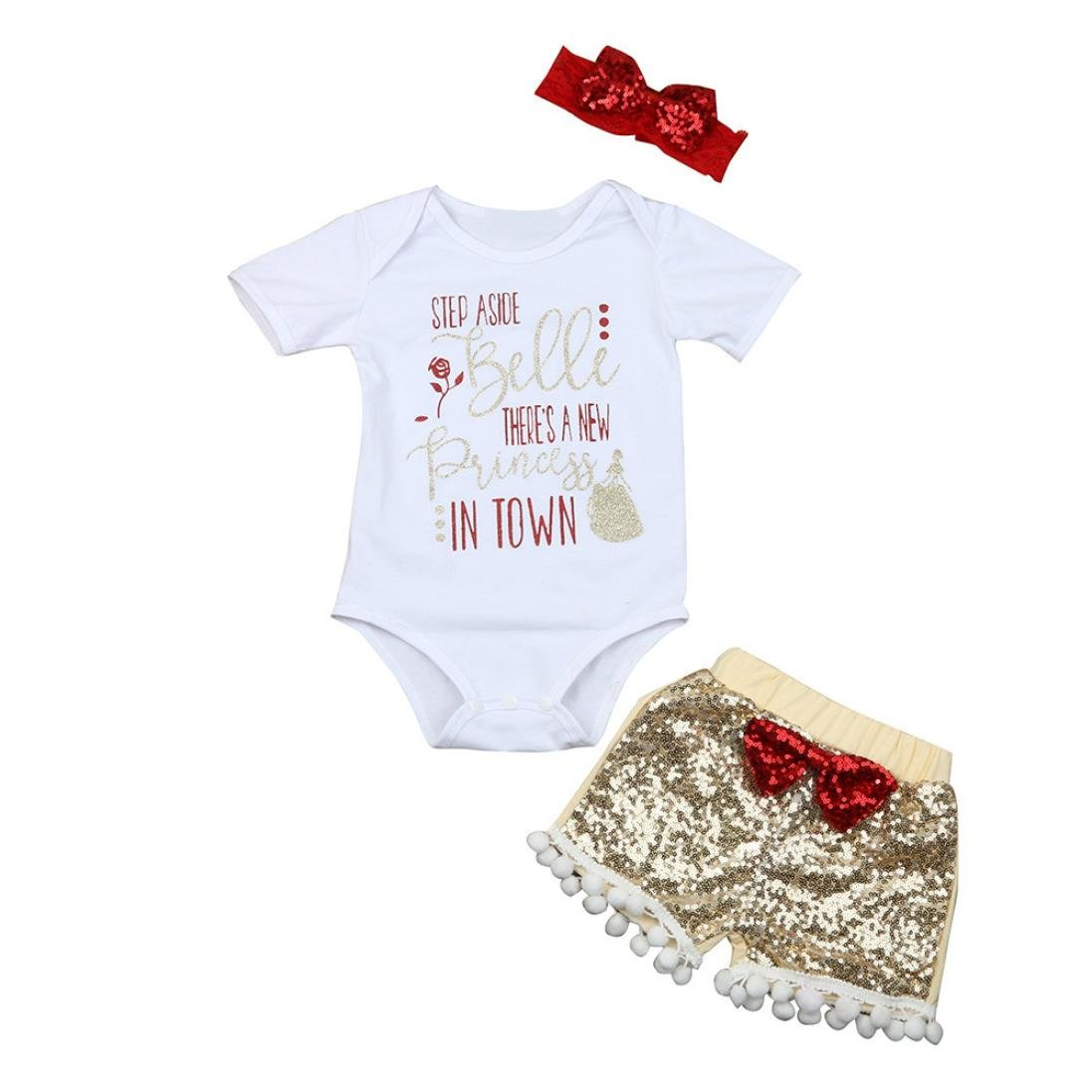 Staron Baby Girls Cute Letter Clothes Romper Tops Sequin Shorts Pants Outfits Set
