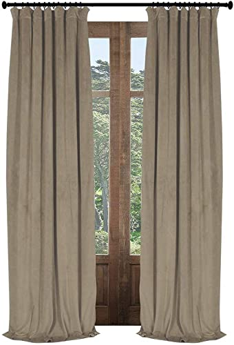 Artdix Velvet Lined Blackout Curtains Panels Window Drapes – Grey Apricot Custom Size Nursery Insulated Solid Thermal Custom Blackout Curtains for Bedroom, Living Room, Kids Room, Kitchen