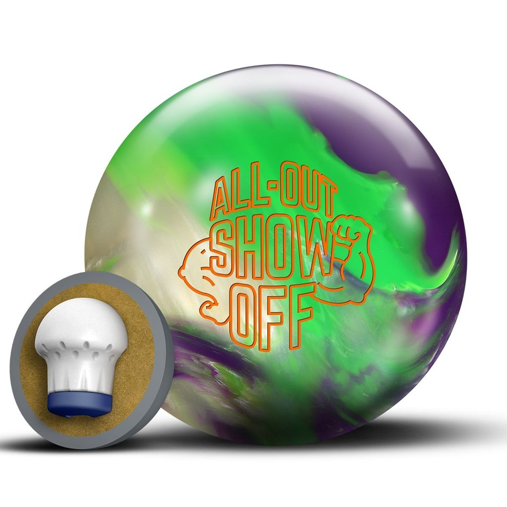 RotoグリップすべてOut Show Off Bowling ball-パープル/ネオングリーン/ホワイト B076FBW613   16lbs