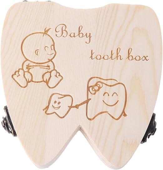 KINTRADE Caja de Dientes de beb/é Organizador de Dientes de Leche de Madera Almacenamiento Ni/ños Ni/ñas Guardar Estuche de Recuerdo