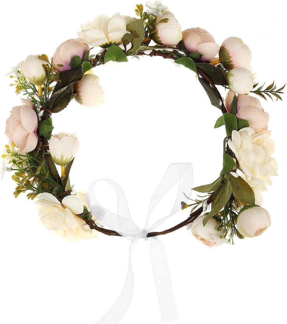 DDazzling Women Flower Headband Wreath Crown Floral Wedding Garland Wedding Festivals Photo Props (Champagne) at  Women's Clothing store