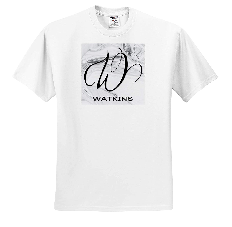 Watkins White Marble Monogram W ts/_310132 3dRose BrooklynMeme Monograms Adult T-Shirt XL