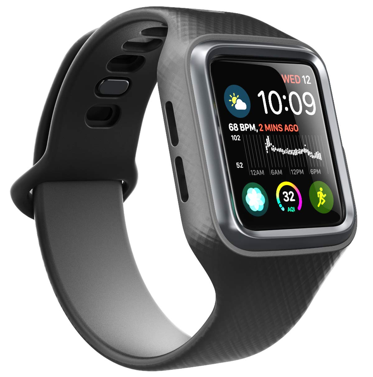 Clayco Apple Watch 4 Band 44mm 2018, [Hera Series] [Updated Version] Shock Resistant Ultra Slim Protective Bumper Case with Strap Bands for 44mm Apple Watch Series 4 (Black) by Clayco