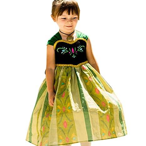 Moin Vestido para Niñas Princesa para Fiesta Carnaval Cosplay de manga corta