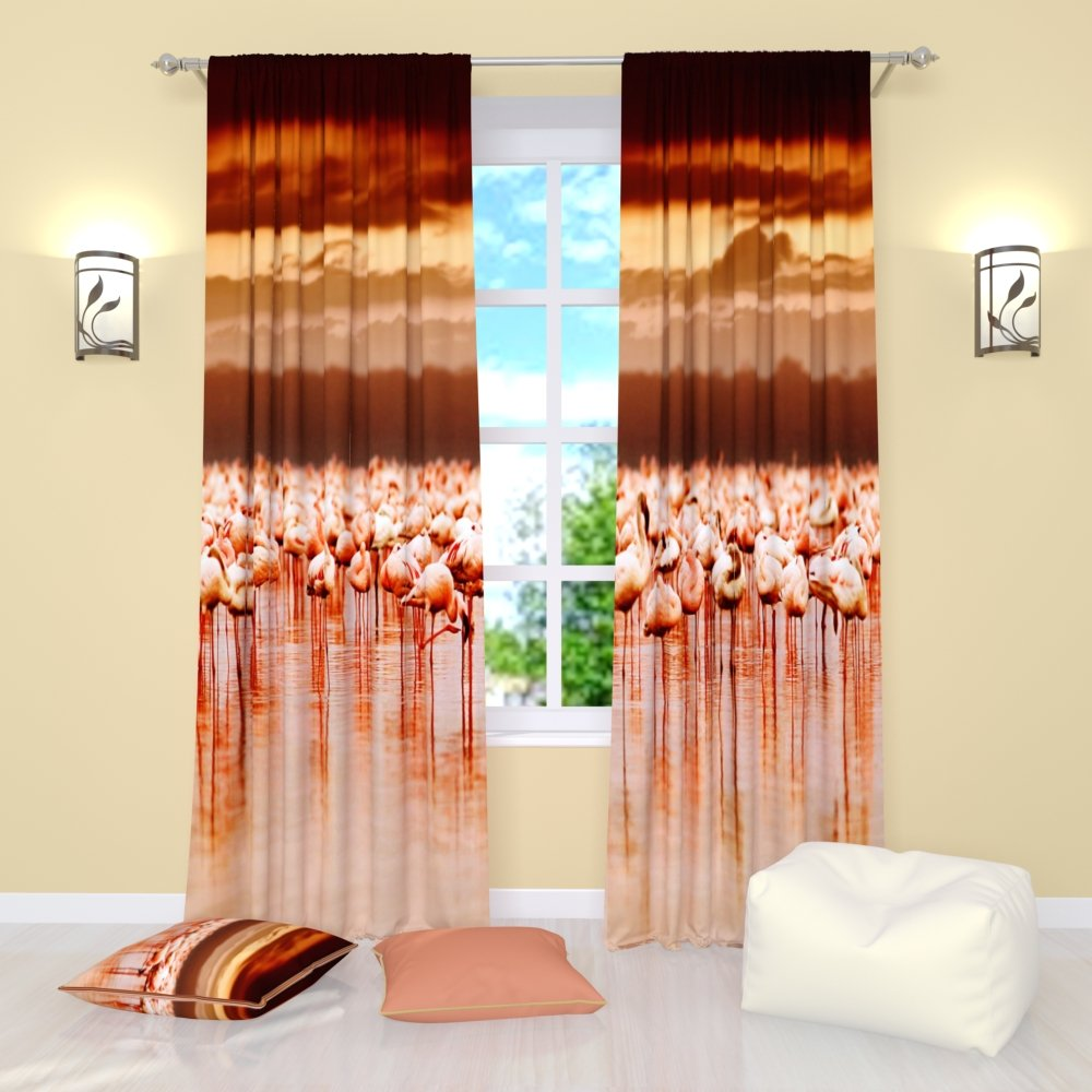 Bird curtains Dance of flamingo. Window Treatment Curtain Panel (Set of 2) Bedroom Kitchen Living, Kids Room W84'' x L84'' Polyester