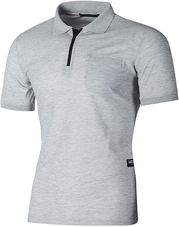 XuanhaFU Polo para Hombre de Manga Corta Casual Solapa Cremallera con Bolsillo Verano Camisas: Amazon.es: Ropa y accesorios