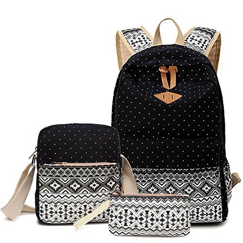 Anseahawk Casual Lightweight Canvas Backpack School Bookbags for Teen Girls