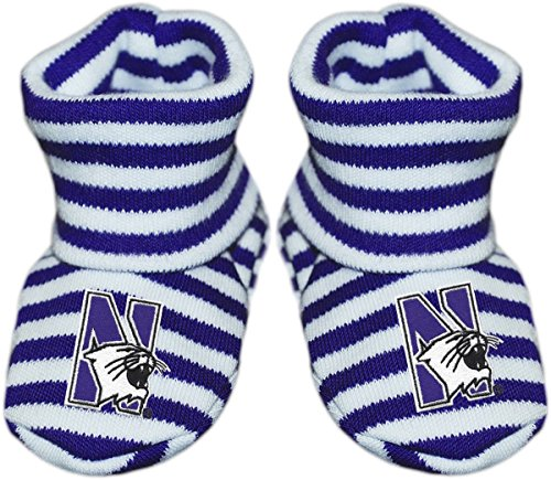 Northwestern University Newborn Baby Striped Bootie Sock ()
