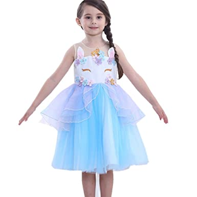 88f4b8e8ebb14 Amazon.com: Girls Unicorn Dress Costume Kids Princess Holloween Party Tutu  Dresses Gowns: Clothing