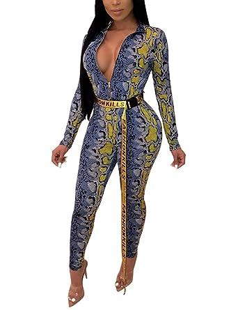 0638040e668 Amazon.com  Angsuttc Women Snakeskin Print Jumpsuit Long Sleeve Zip Up  Bodycon Pants Romper  Clothing