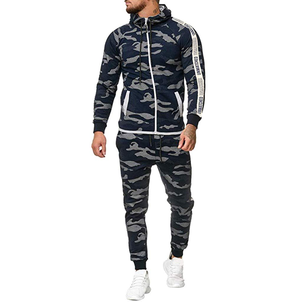 Warm Up Tracksuit Men Set, Hoodie Slim Fit Long Sleeve Zip-up Sweatsuit Sportswear Joggers Set Activewear Navy by Zainafacai