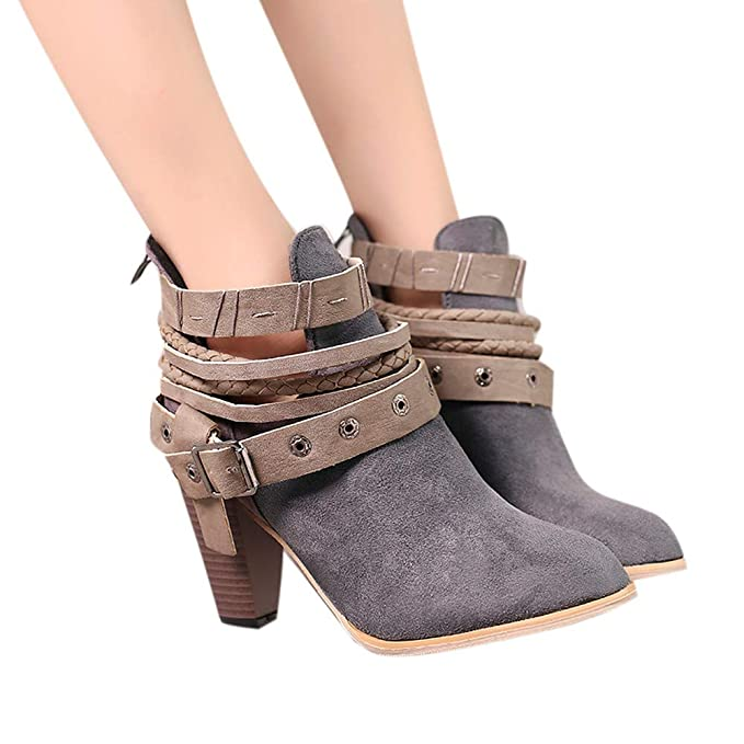 aba5348db325 Amazon.com  Gyoume Ankle Boots Women Rivet Buckle Heel Boots Winter Lace Up  Party Wedding Sexy Boots Shoes Flock Boots  Clothing