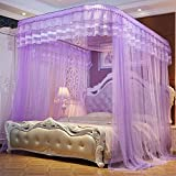CUSHIONLIU Guide Rail Expansion Mosquito Nets Single Door Princess Wind Floor Style purple 2.0m (6.6'') bed