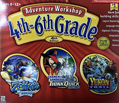 Adventure Workshop 4th-6th Grade Mix 4 (Zoombinis Mountain Rescue, Carmen Sandiego's Think Quick Challenge, The Yukon Trail)