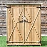 Goplus Outdoor Storage Shed Tilt Roof Wooden Locker Fir Wood Cabinet for Garden