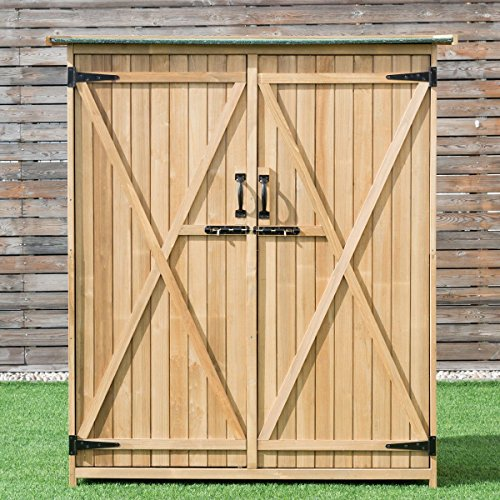 Goplus Outdoor Storage Shed Tilt Roof Wooden Lockable Storage Unit Fir Wood Cabinet for Garden with Two Doors 2 Door Outdoor Cabinet