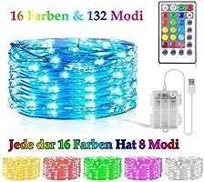 Bunt LED Kupferdraht Lichterkette 16 Farben 132 Modi