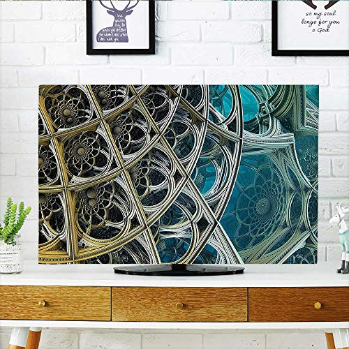 Auraisehome Cord Cover for Wall Mounted tv Decor Vintage Inspired Floral Metal Dimension Figures Futuristic Print with Free 3D Glasses Cover Mounted tv W36 x H60 INCH/TV 65