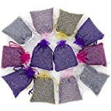French Lavender 12 Sachets Bag - Dried Lavender Flower Buds - 5 Colors Sachets with Easy Resealable Bag