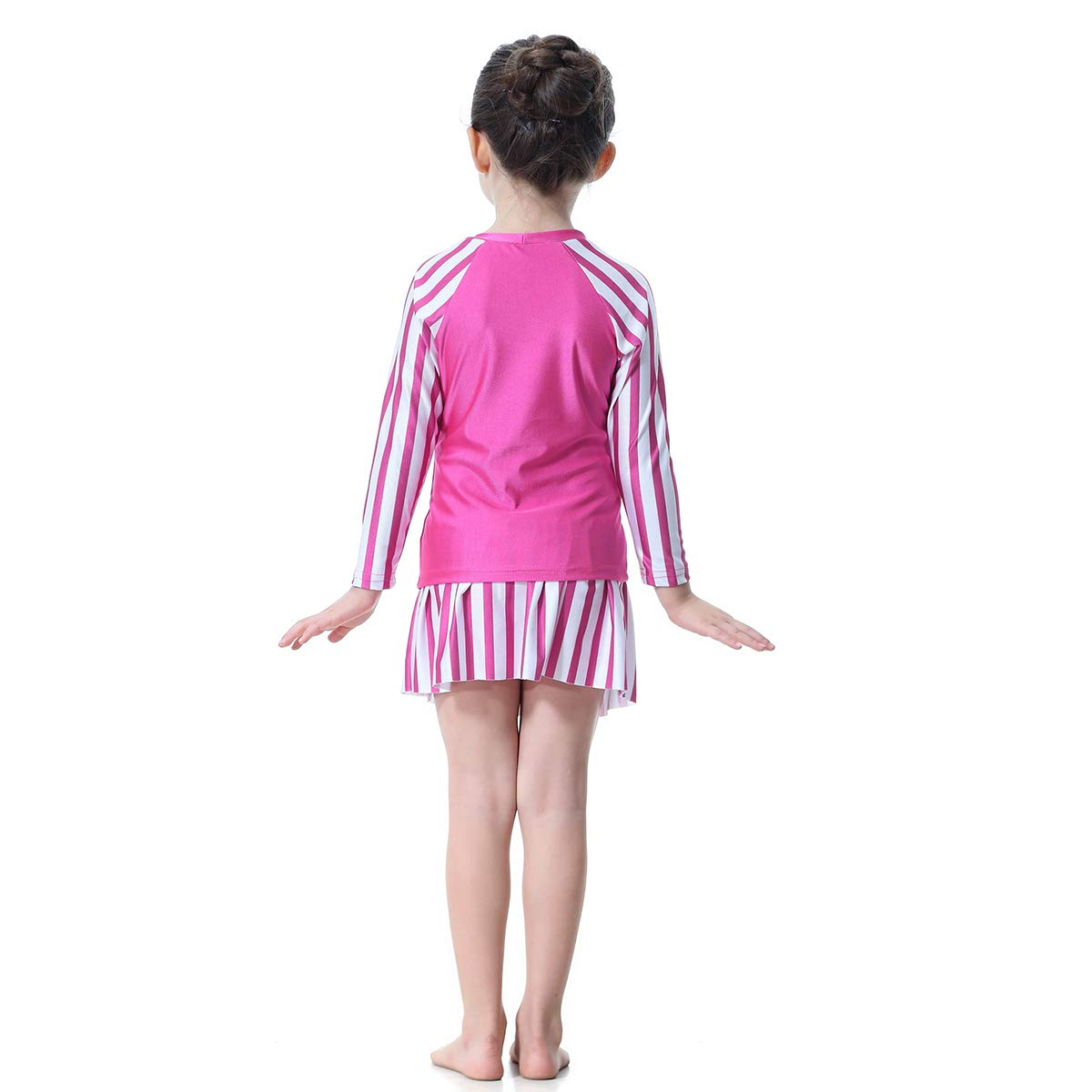 1 Pc Muslim Arab Girls Swimsuit Long-Sleeved Stitching Conservative Split Swimwear H2005 for Girls and Teens-100cm Rosy