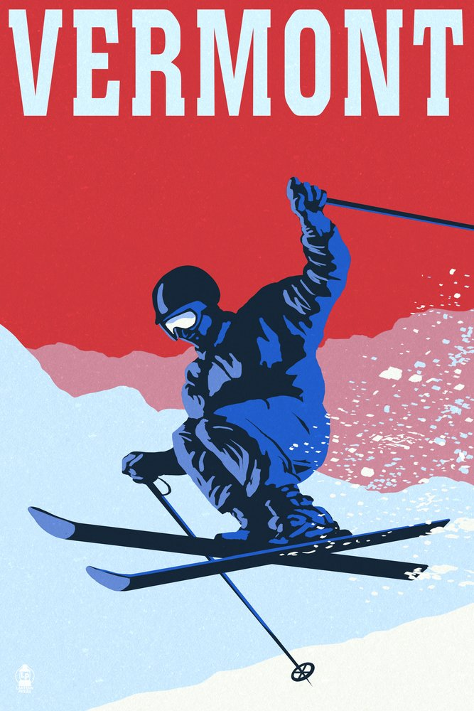 Vermont – Colorblocked Skier 36 x 54 Giclee Print LANT-47940-36x54 36 x 54 Giclee Print  B017E9T7W6