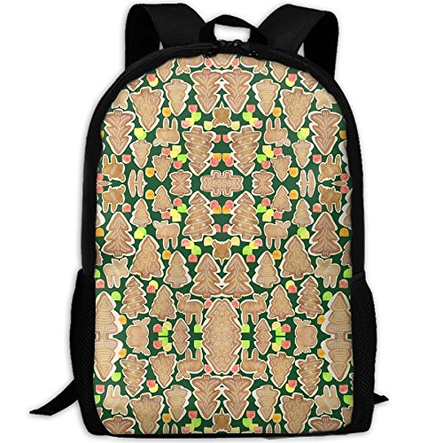 Casual Large College School Daypack, Laptop Outdoor Backpack, Travel Hiking& Camping Rucksack Pack For Gingerbread Trees Moose And Gumdrops Fabric Print Mode