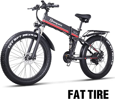 26 pulgadas neumático gordo Bicicleta eléctrica 1000W 48V Nieve E-bici Shimano 21 Velocidades Beach Cruiser Hombre Mujeres Montaña e-Bike Pedal Assist, batería de litio Frenos de disco hidráulicos (Rojo): Amazon.es: Deportes y