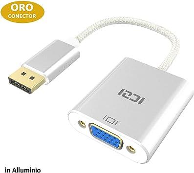 ICZI Adaptador DP a VGA, Conversor displayport vga 1080p de ...