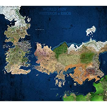 Amazon game of thrones seven kingdoms map in colour tv wall game of thrones seven kingdoms map in colour tv wall silk print poster inch gumiabroncs Image collections